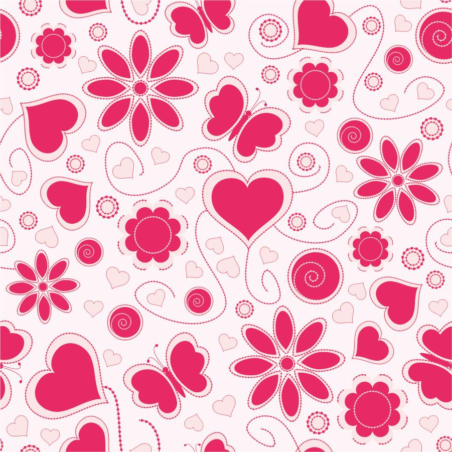 花と蝶とハートの愛らしいパターンの背景 Love Pattern Background イラスト素材 Ai