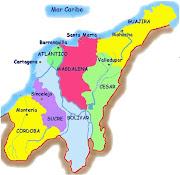 Mapa división política. VIDEO: Conozca los Departamentos de la Región Caribe . (mapa caribe )