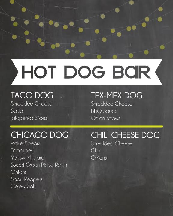 Hot Dog Bar Menu Ideas