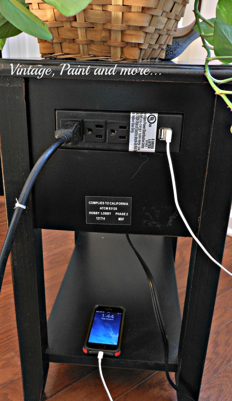 using the USB port on a small side table