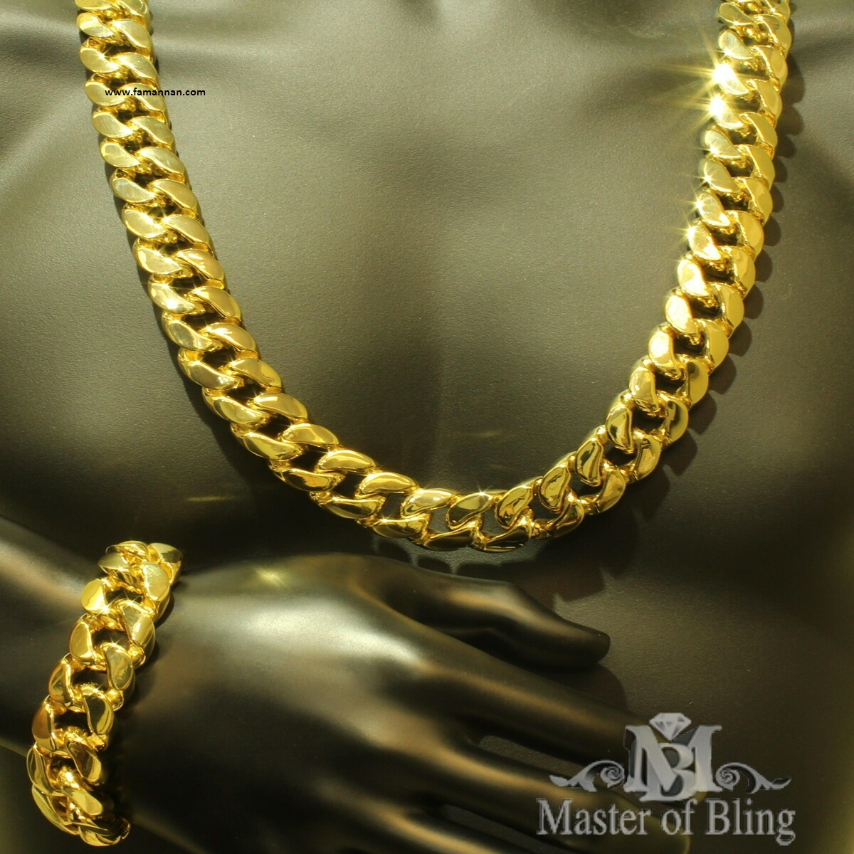 Ivory Coast New Men's Fashion Gold Jewellery Bracelet Locket Chain 1499