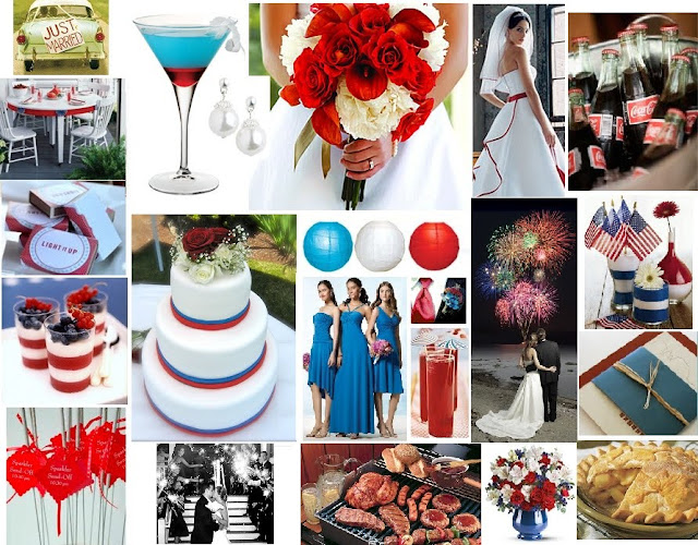 red, white and blue wedding colors