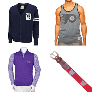 Men, experiment with your sports fan style with items like cardigans, dress shirts, tanks, belts and ties