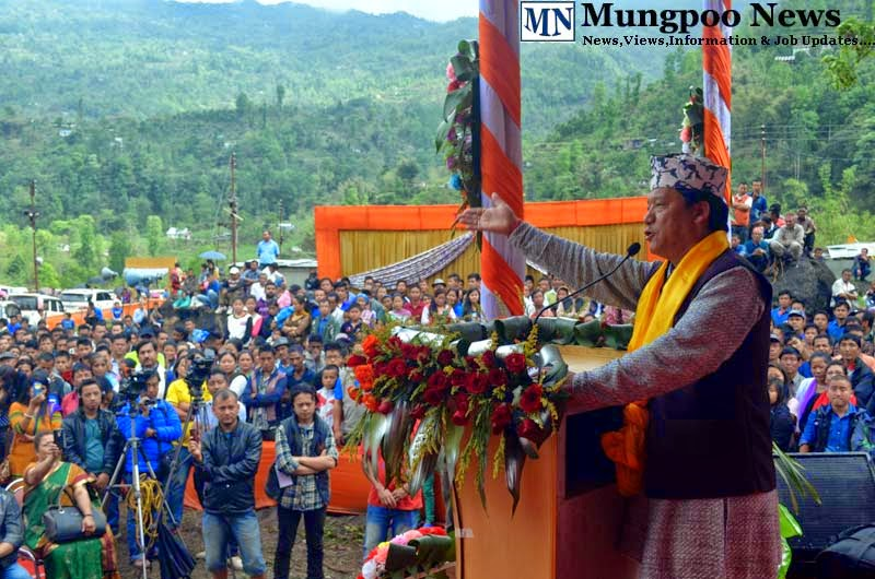 Bimal Gurung addressing public at Jogighat Steel Bridge inauguration ceremony
