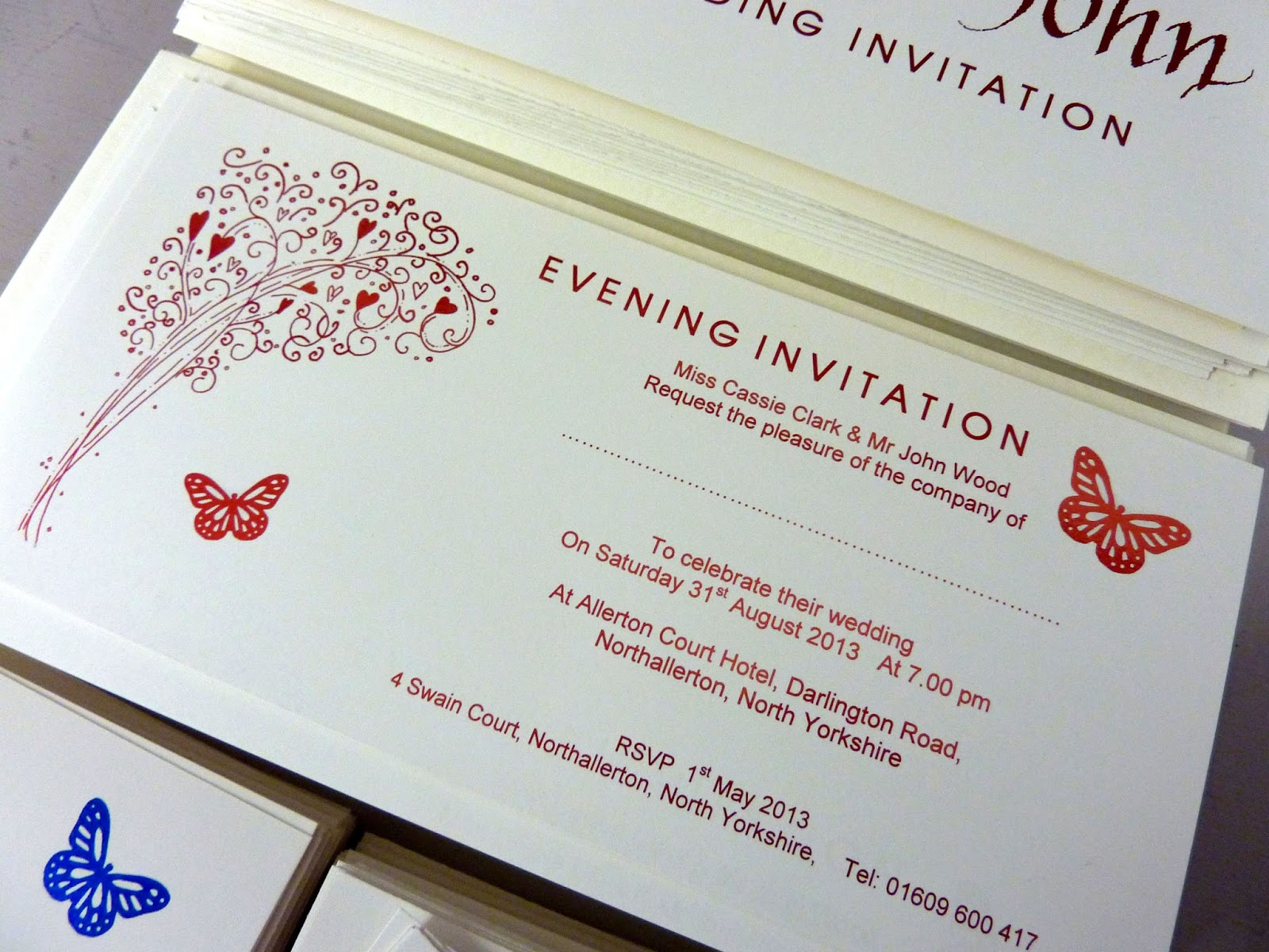 Inspired by Script: Red, Blue and Green Wedding Invitations - Cassie ...