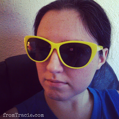 Tracie Wearing Bright Yellow Shades
