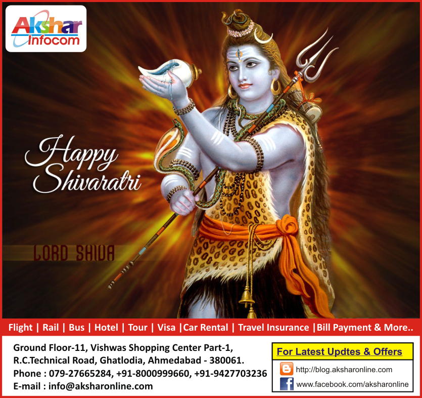 Happy Shivaratri - Travel Agent - AKSHAR INFOCOM