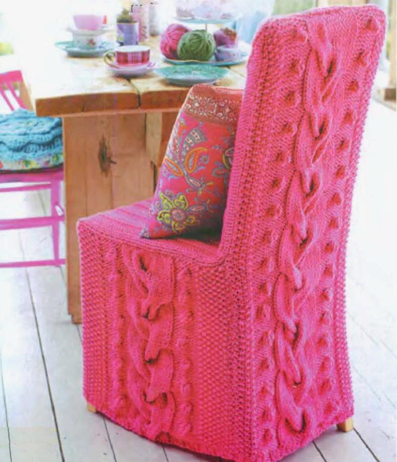 Вязаный чехол на стул