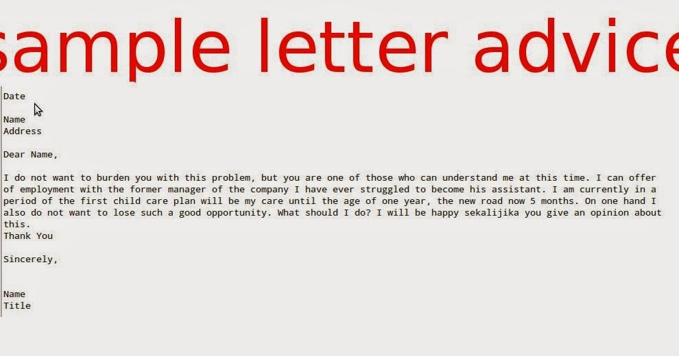 Sample Letter Advice Samples Business Letters