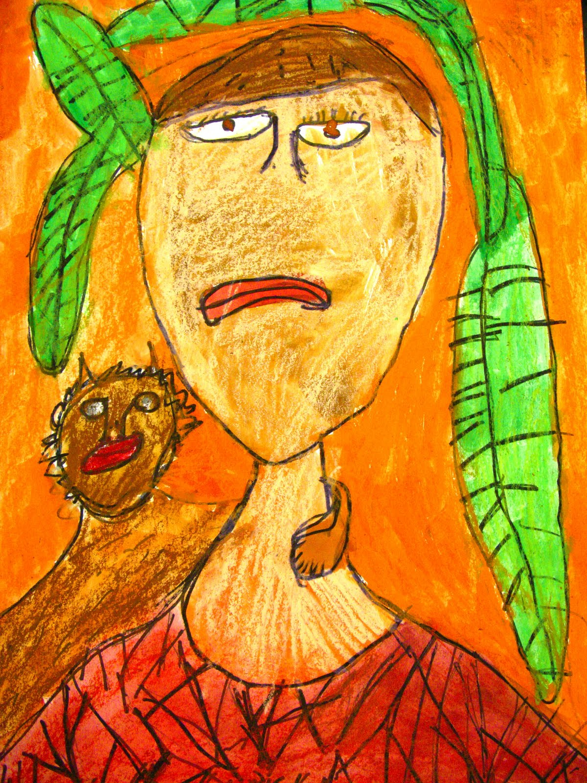 self portrait with monkey inspired by frida kahlo by 1st grade mrs