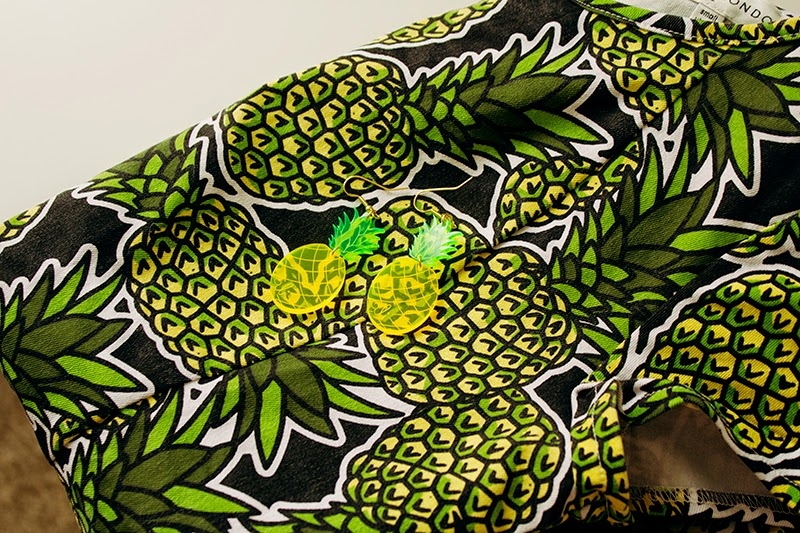 pineapple print playsuit earrings