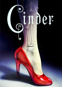 Book cover: Cinder by Marissa Meyer. The cover image is the side view of a woman's calf and foot in a high-heeled red shoe. A metallic structure, reminiscent of joints and bones, is faintly visible inside her leg.