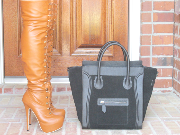 Camel thigh-high boots & Vanessa Large Tote