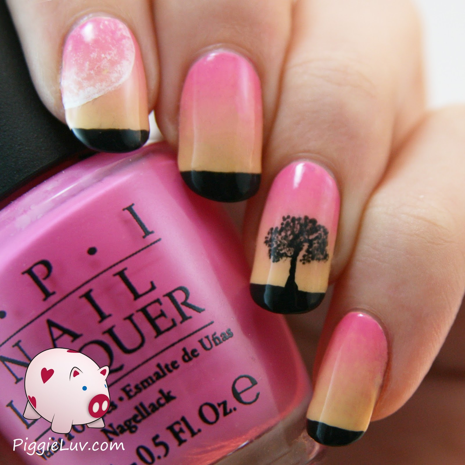 PiggieLuv: Soft sunset gradient nail art