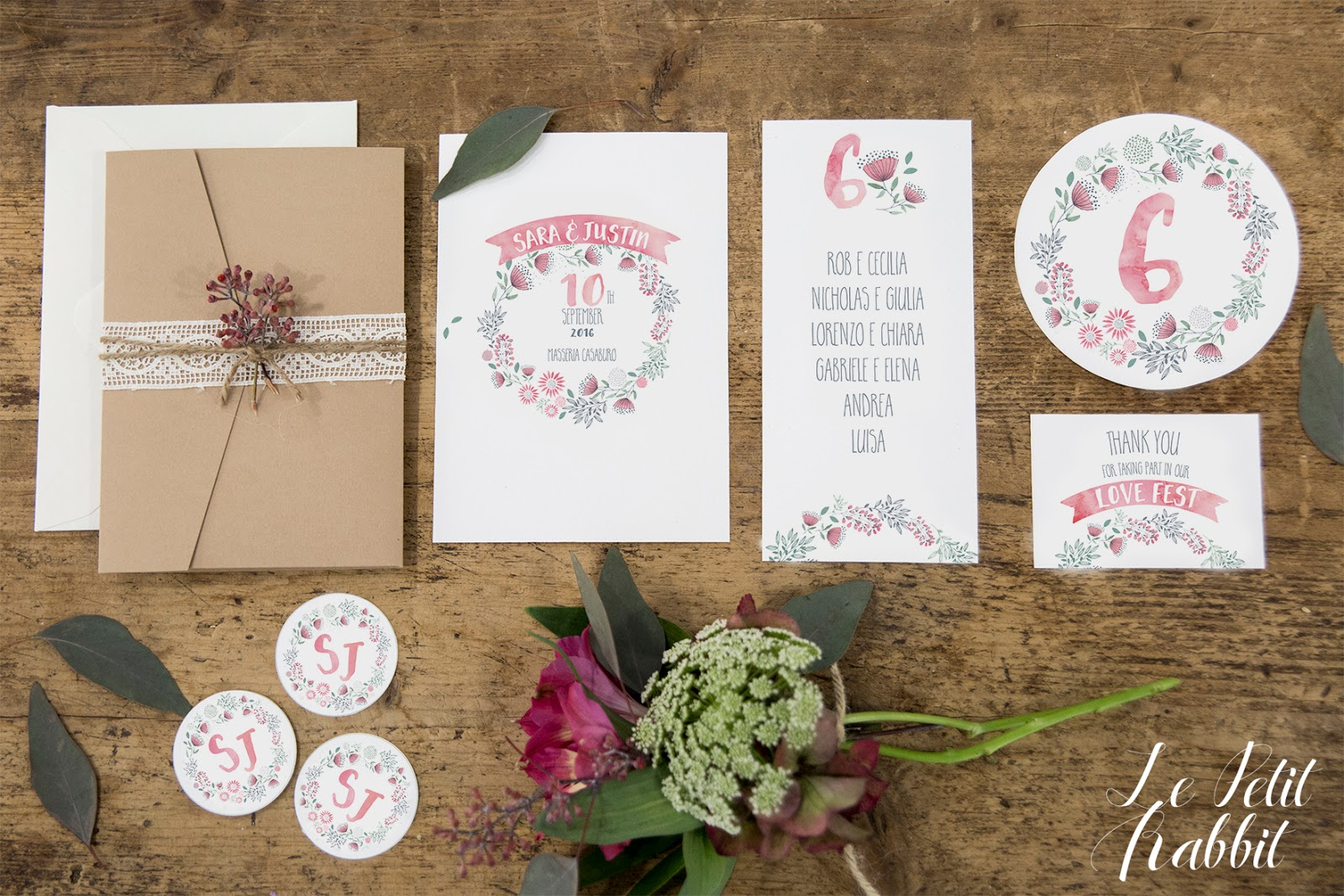 Inviti Matrimonio Bohemien : Wedding suite boho chic watercolor flower le petit rabbit