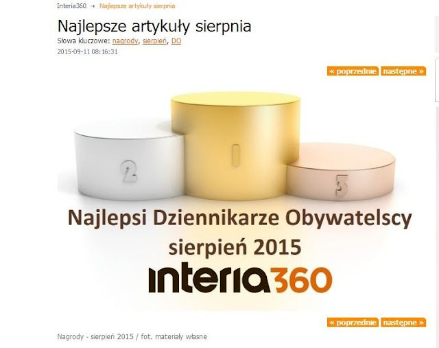 Moja recenzja najlepszym artykułem sierpnia na portalu Interia360!