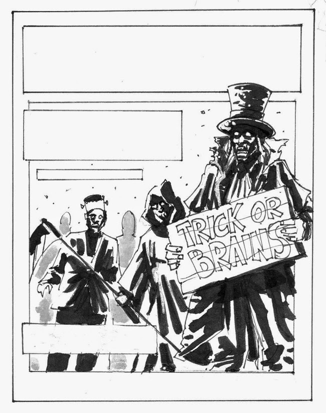 zombie sketch ink black and white halloween cover layout