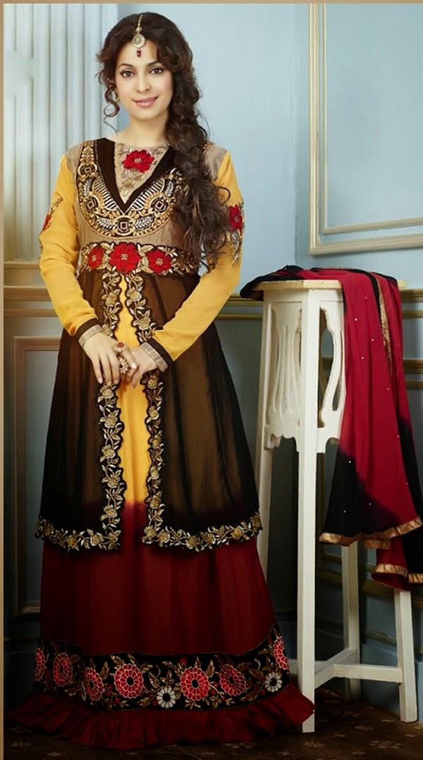 Juhi Chavla  Anarkali Suit Wallpapers Free Download