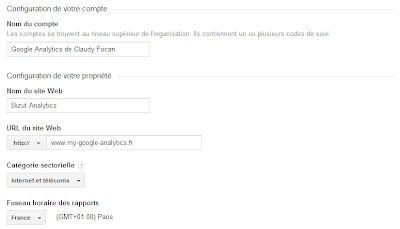 Configuration du compte Google Analytics