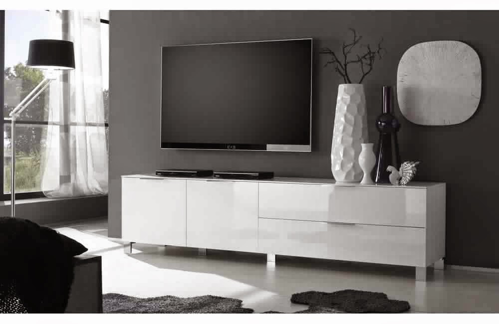 Meuble tv blanc laqu meuble d coration maison for Meuble de tv blanc
