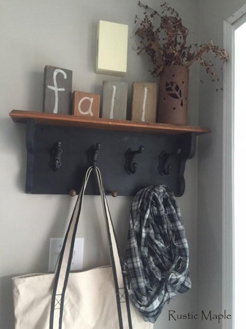 A Bit Of FALL On New Hall Coat Hook Shelf