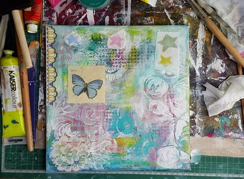 Carmen Wing - Layering for WiP on Mixed Media Grunge Pastel Bunny