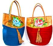 Bolso Wayuu Con cuero pintado