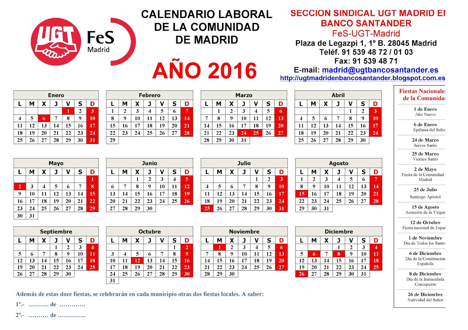 Secci n sindical de ugt madrid en banco santander for Calendario eventos madrid