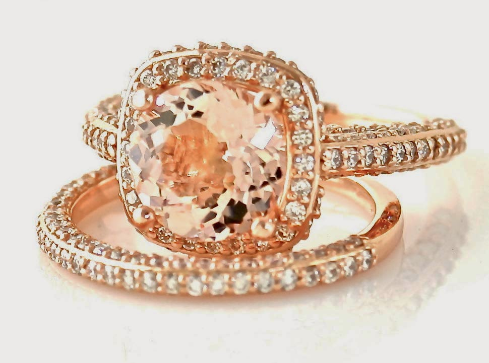 Expensive Rose Gold Diamond Bridal Set Rings Design pictures hd