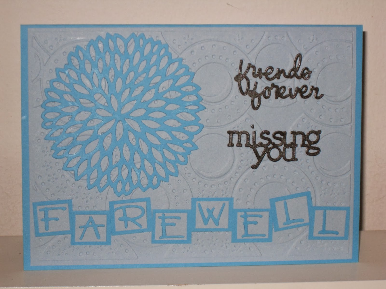 Me2u handmade cards blue farewell card hi peeps this is my 1st farewell card loving it soo much everything on this card is die cute words friends forever m4hsunfo