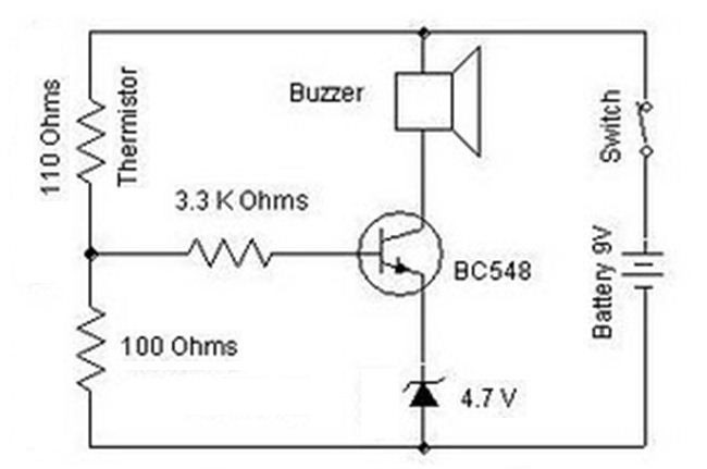 electronic circuit schematic wiring diagram bc548 heat sensor circuit