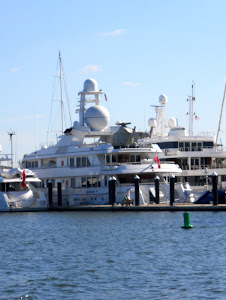 This yacht owner must have ALL the toys! That is a helicopter on the upper deck!