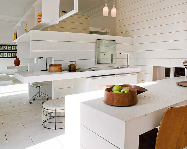 Mix and chic creating interest using accents in all white - All white modern kitchen ...