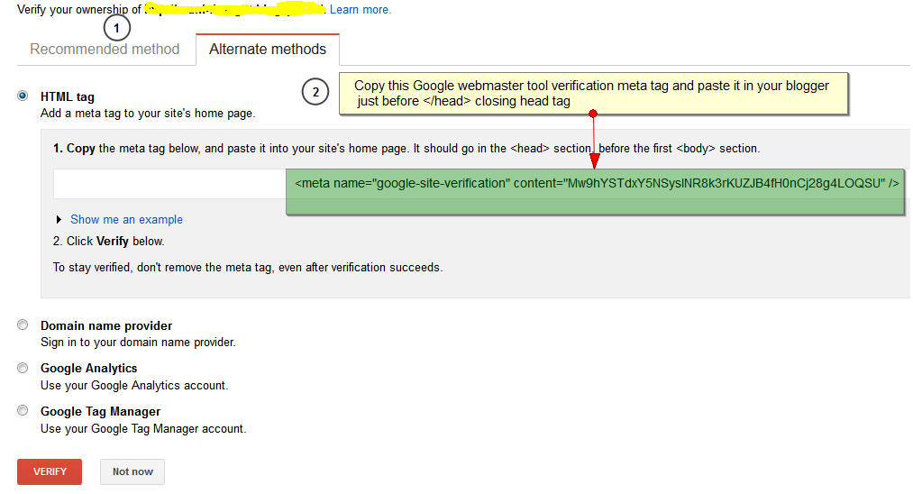 Verify Ownership of Site or Blogger in Google Webmaster Tool