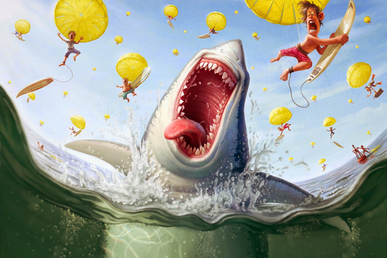 illustration de Tiago Hoisel représentant un requin extatique sous une pluie de surfeurs
