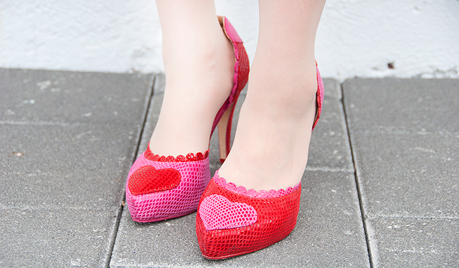 heart shoes, yin yang shoes, pink and red shoes