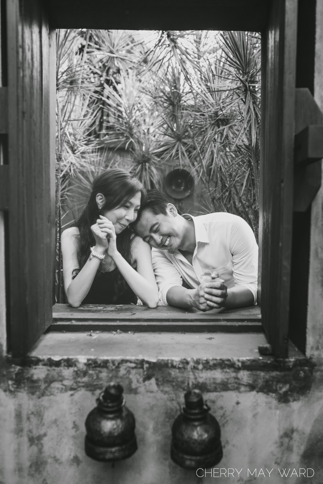 Koh Samui engagement photos, young couple in love, destination wedding photographer, couple leaning on shoulder,