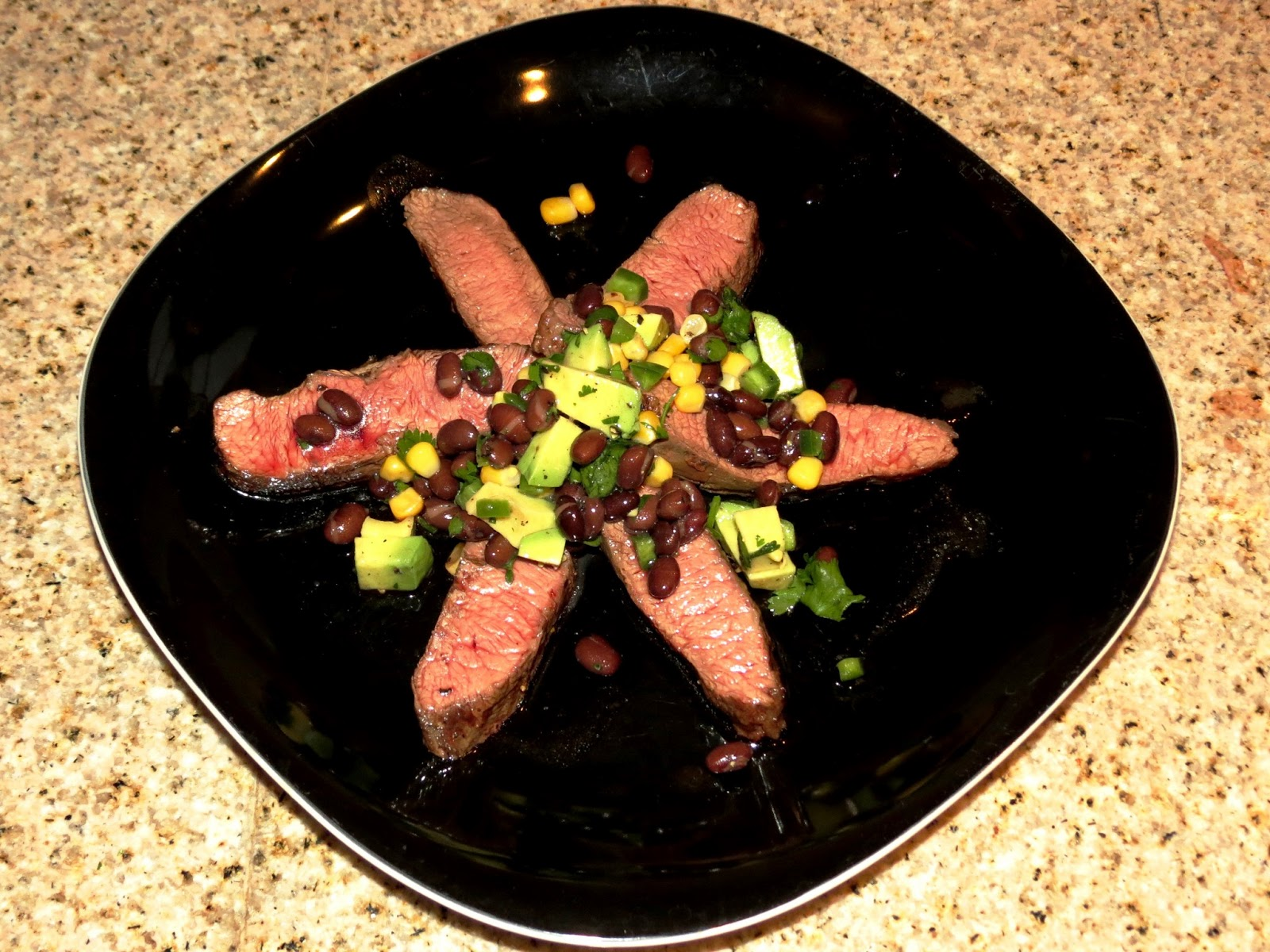 Grilled FlankSteak with Corn, Black Bean, and Avocado Salad
