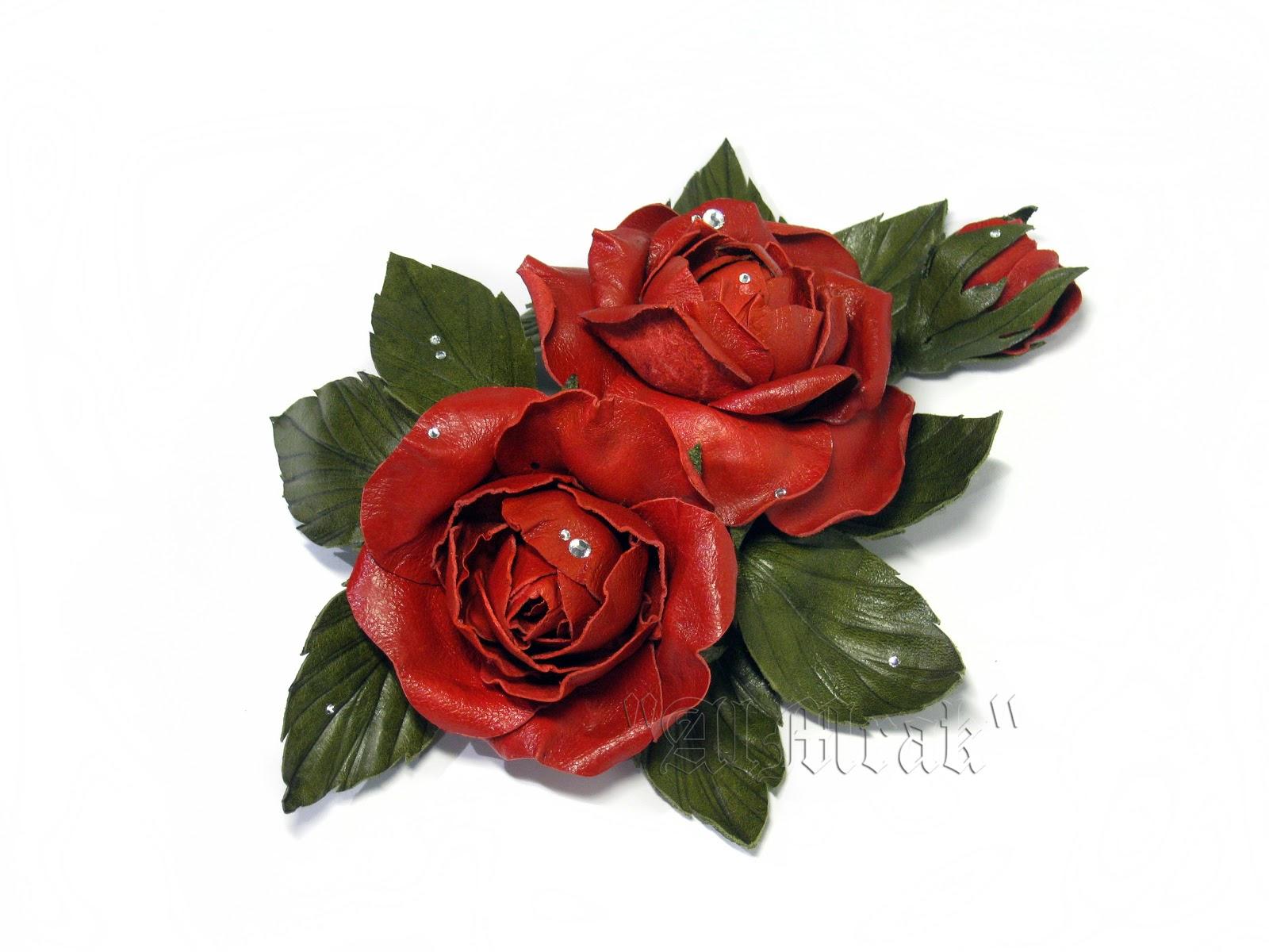 Цветы из кожи фото
