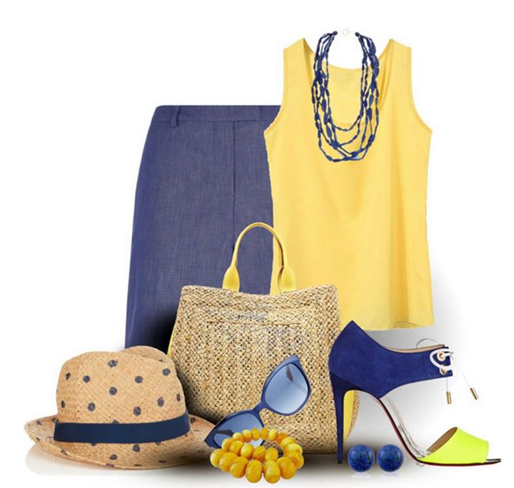 Yellow Top, Blue Skirt, Heels,Bag, Necklace, Hat | Outfits