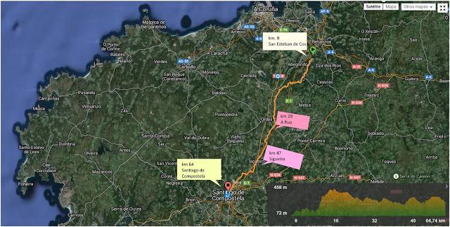 Camino Ingles a Santiago, mapa de la ruta y altimetría segundo día