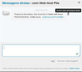 apagar mensagens do Twitter