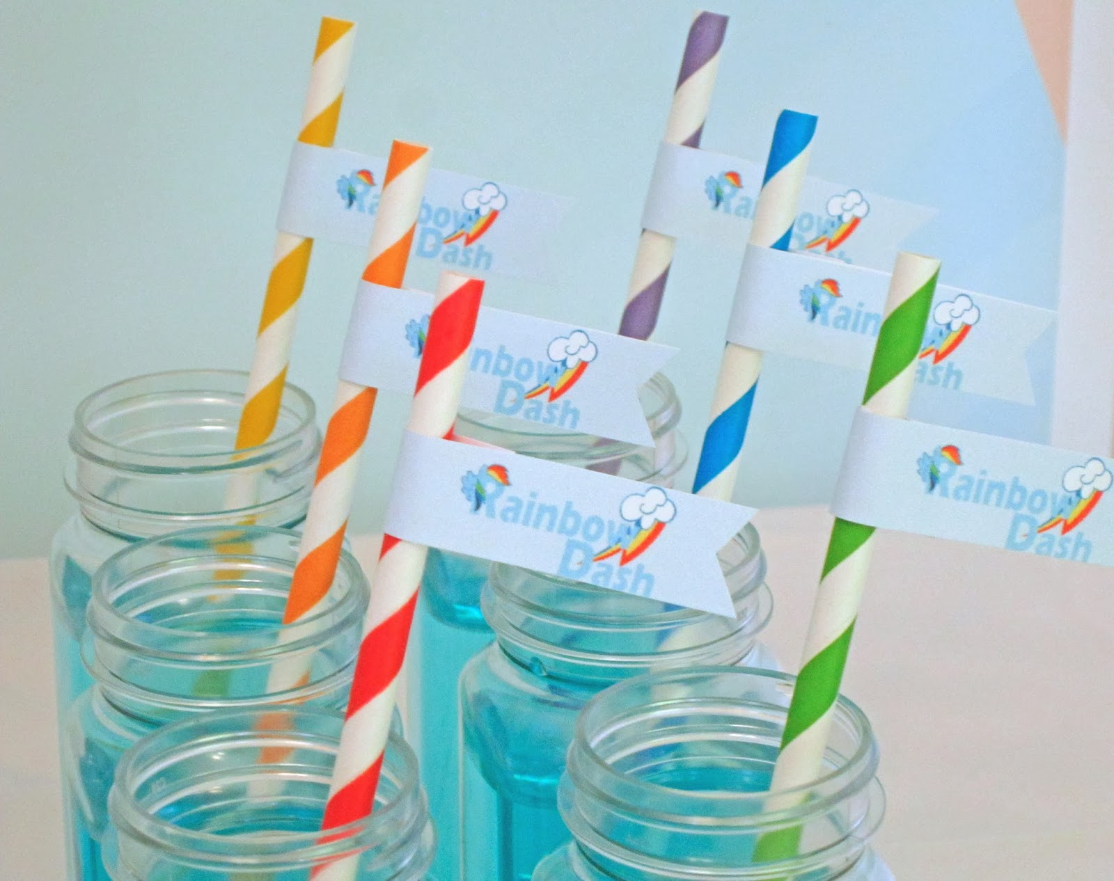 We also served Raindrop Drinks with rainbow striped straws and flags ...