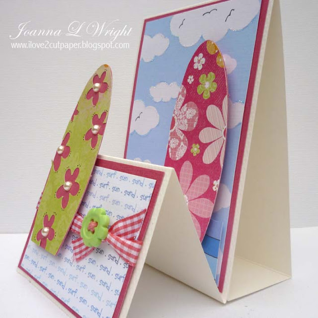 I love 2 cut paper surf board shaped card for Surfboard craft for kids