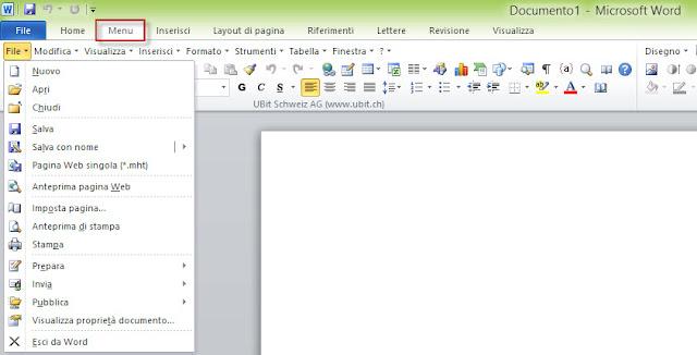 Menu classico per Office 2007 e 2010
