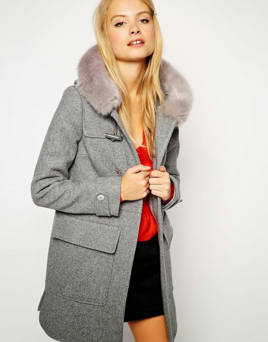 duffle coat with fur hood