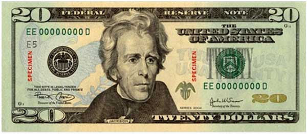 20 dollar bill back. 20 dollar bill back and front.