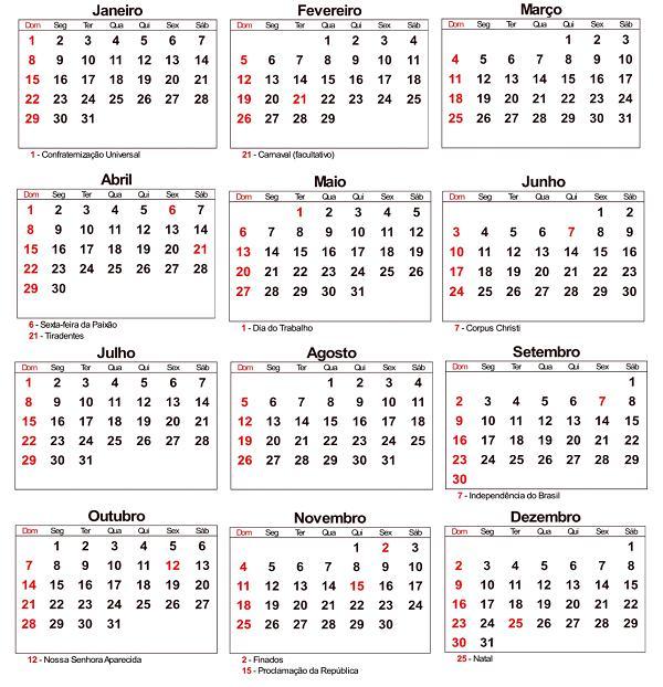 Calendario 2015 Com Feriados Nacionais E Estaduais Brasil Free | New ...
