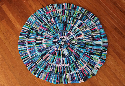 Handiworkin' Girls rag rug custom circular tshirt purple blue pink teal turquoise green black