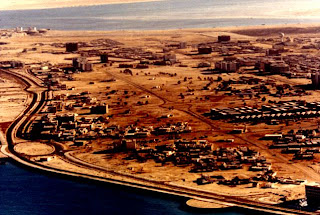 Aerial photograph of Abu Dhabi's corniche, 1971 rare old photo